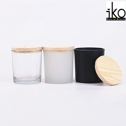 Glass Jar With Wood Cap - Transparent/ Black/ Frosted 200ml, 300ml